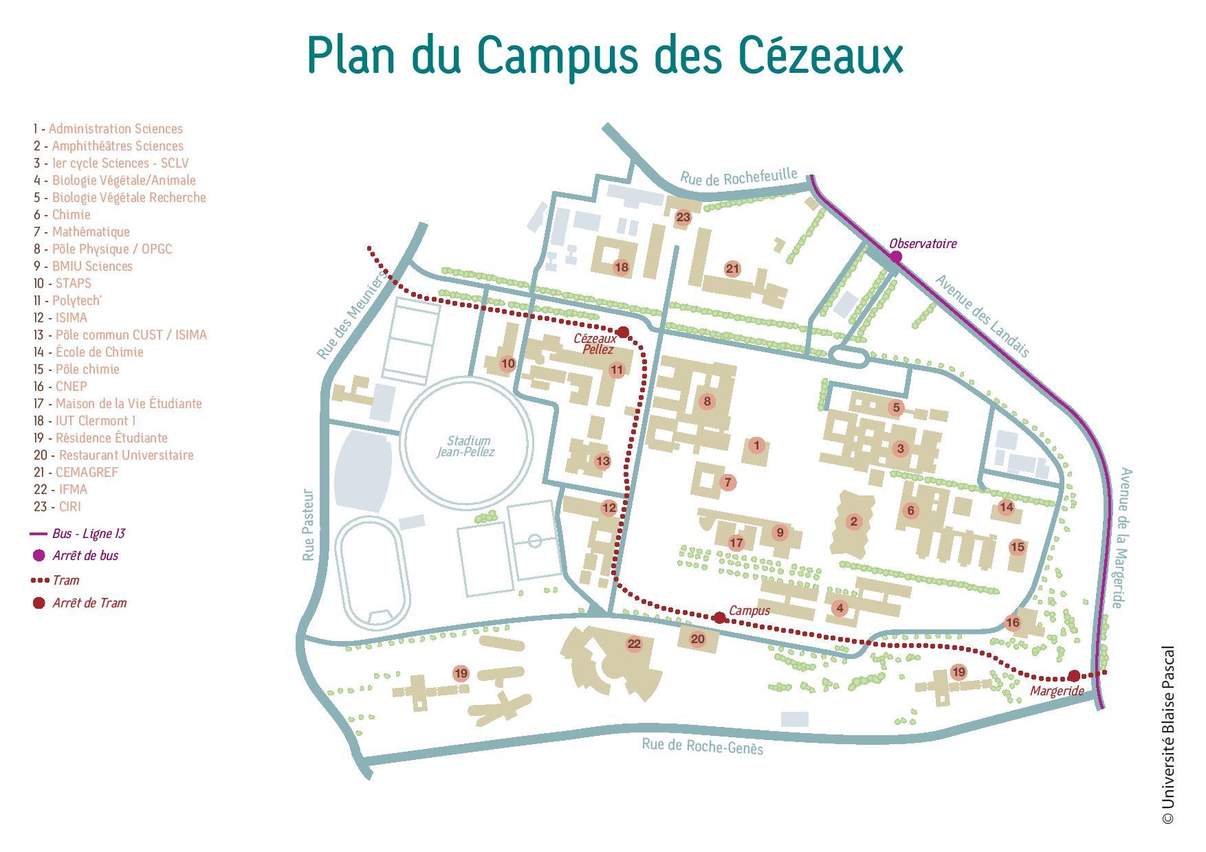 Plan du campus des Cézeaux
